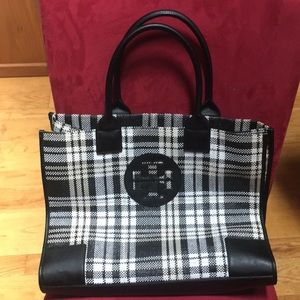 Excellent Cond. Tory Burch Ella Plaid Tote